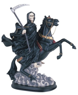 Santa Muerte Black on Horse 12 Inches Tall